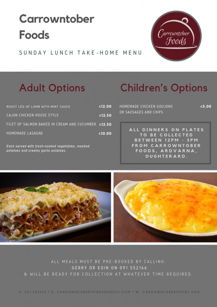 Sunday Lunch Take-home menu